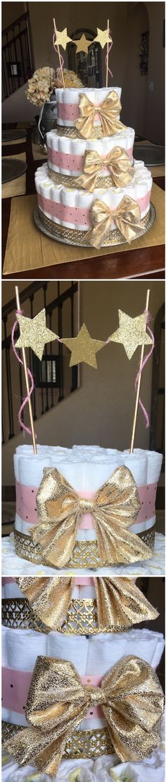 | Diaper cake | baby shower ideas | pink and gold baby shower | girl baby shower | twinkle twinkle little star |