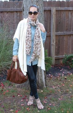 """Faux Leather Leggings look for """"Mom on the go!"""""""
