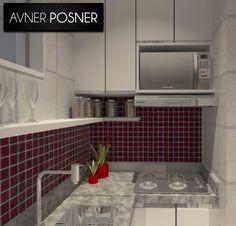 Projeto 3D de cozinha modulada para ambiente de dimensões reduzidas.
