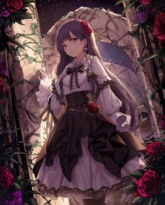 A black haired anime girl wearing a white formal dress with puffy sleeves and a black gathered skirt, standing in a flower arch. Fille Anime Cool, Art Anime Fille, Cool Anime Girl, Pretty Anime Girl, Beautiful Anime Girl, Anime Art Girl, Anime Girls, Anime Girl Dress, Kawaii Anime Girl