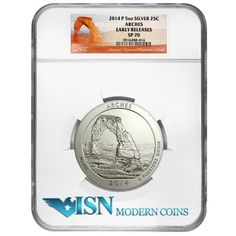 2014-P 5 oz. .999 fine silver America The Beautiful (ATB) Arches National Park NGC SP70 ER  This is the third of five issues for 2014 in the America the Beautiful (ATB) 5 oz. .999 fine silver quarter series, and its design depicts one of the natural bridge formations in Arches National Park located in Eastern Utah. This park contains over 2,000 natural sandstone arch formations that are the result of 300 million years of natural erosion. Visit www.isnmoderncoins.com/33757