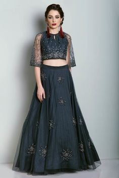 Looking for Navy blue light lehenga with stone and bead work? Browse of latest bridal photos, lehenga & jewelry designs, decor ideas, etc. on WedMeGood Gallery. Dresses To Wear To A Wedding, Indian Wedding Outfits, Party Wear Dresses, Indian Outfits, Indian Attire, Wedding Wear, Indian Wear, Prom Dresses, Stylish Dress Designs