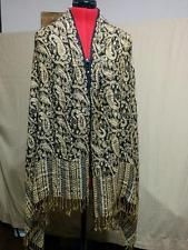"""BUY IT NOW! Black Gold & Silver Paisley Shawl Wrap Scarf 100% Rayon 68"""" by 28"""" plus Fringe"""