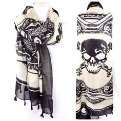 """B151 Ivory Black Vey Large Skull Crossbones Scarf ‼️PRICE FIRM‼️   Skull & Crossbone Scarf    FABULOUS!!!! 100% polyester.  Extra large!  Sure to dress up even your most basic outfit!  Approximately 56"""" wide, 56"""" long. Please check my closet for  more items including jewelry, shoes, handbags designer clothing & more! Accessories Scarves & Wraps"""