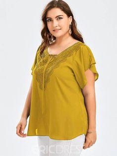 Women s Plus-Size Patchwork Lace-Up Tee Shirt Black Crop Tops 1cb365777c25