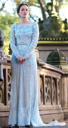 Blair Waldorf: Blair channeled her inner princess in a blue beaded Elie Saab gown and gorgeous turquoise drop earrings. Channel Blair's pristine look with this beaded Adrianna Papell dress ($258) and sexy sandals.