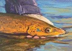"""Paintings from one of two of the Dix Baines Studio Auctions l """"T-Rex"""" l 5x7 I Dix Baines I Fine Artist l Original Oil Paintings I Fish l Flyfishing l Green River I Utah l Auctions l www.dixbaines.com/studio-auctions"""