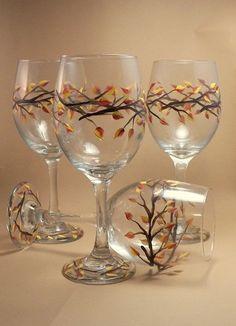 Hand Painted Autumn Leaf Wine Glass, 20oz-Dishwasher Safe Hand Painted Wine Glass-Autumn Braches with Leaves