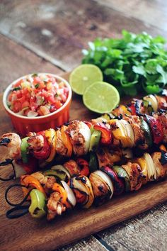 Cilantro-and-Lime Marinated Chicken Fajita Kebabs