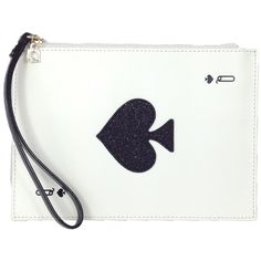 Kate Spade Taft Street Harriet Queen of Spades Card Wristlet found on Polyvore featuring bags, handbags, clutches, wristlet purse, white purse, kate spade clutches, white wristlet and wristlet clutches