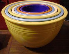 Rare 7 Piece Fiesta Nesting Mixing Bowls - Vintage Pieces