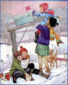 Looking for Christmas mail, illustration by Miriam Story Hurford.