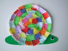 Paper plate snail craft with tissue paper squares... could also have students design their own snail shell after looking at different kinds of snails!