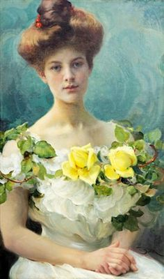 Franz Dvorak Girl With Yellow Roses