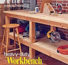 Heavy Duty Workbench Plans - Workshop Solutions Projects, Tips and Tricks - Woodwork, Woodworking, Woodworking Plans, Woodworking Projects Simple Workbench Plans, Garage Workbench Plans, Diy Workbench, Basement Workshop, Workshop Bench, Workshop Ideas, Woodworking Plans, Woodworking Projects, Vintage Interior Design