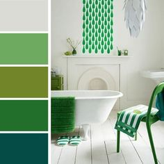 Palettes de couleurs dans un camaïeu de verts associés au beige   Photo : www.designferia.com                                                                                                                                                     Plus