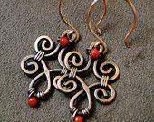 Beautiful Red Coral Copper Swirl Earrings - TW0011Ca