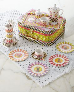 """MacKenzie-Childs handcrafted child's tea set. Set includes 3""""Dia. x 5.25""""T teapot with lid, 2.25""""Dia. x 3""""T sugar bowl with lid, 2.25""""Dia. x 1.75""""T creamer, 12""""L x 7.5""""W tray, four 2.25""""Dia. x 1.75""""T"""