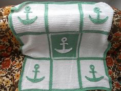 Nautical baby blanket -  love the colors and the pattern - next baby shower