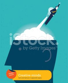 Business man with bulb rocket on head royalty-free stock vector art