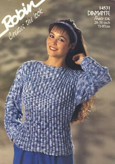 Ribbed Pullover Sweater Vintage Knitting Pattern for download Six Bust Sizes 28 - 38