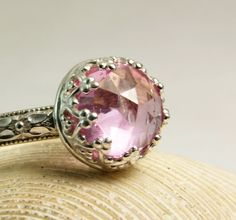 Pink Sapphire Ring, Sterling Silver Jewelry, Floral Band, Enagement Ring, Faceted Gemstone, custom sized by TazziesCustomJewelry