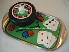 Homemade Casino Cake: I made this casino cake for my daughter, she had a party at school and the theme was casino.  I made a sponge cake with chocolate butter cream. And all