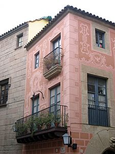 A building detail in the Poble Espanyol.