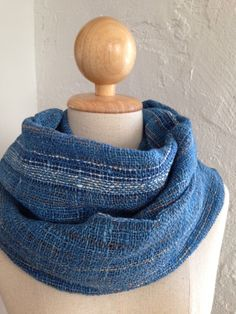 Handwoven shawl scarf in indigo color with beautiful stripes on Etsy, $46.00