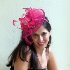 Fascinator pink, fuchsia fascinator hat, headband fascinator, hot pink wedding hat STAVVY PEON