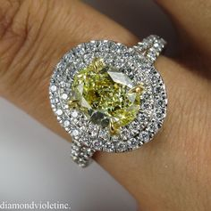 GIA 2.78ct Estate Vintage Fancy Yellow Oval by DiamondViolet, $16500.00
