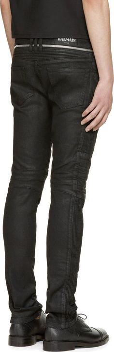 Balmain Black Coated Biker Jeans