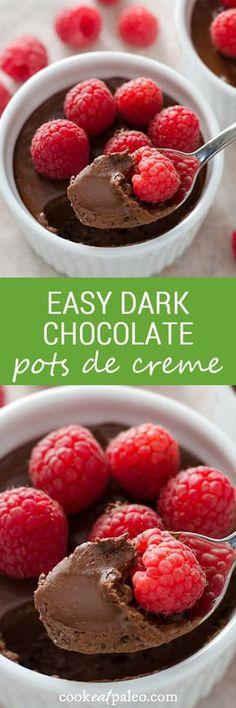Easy Dark Chocolate Pots de Creme - no-cook dessert you make in the blender. Dairy-free, gluten-free, paleo. ~ http://cookeatpaleo.com
