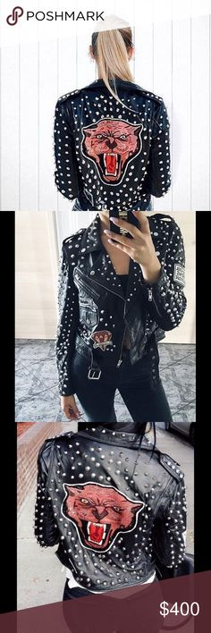 Zara Leather Jacket with Studs and Patches BRAND NEW WITH TAGS ZARA LEATHER JACKET STUDDED PATCHES BLACK Ref. 6098/221 NEW AW 16 SIZE XS Zipped pockets and cuffs. Belted hem. Sold out in stores and online. Retail $300+tax, but PM takes 20% cut. NO TRADES, please! COMPOSITION OUTER SHELL 100% lambskin LINING BODY LINING 100% cotton SLEEVE LINING 100% polyester Zara Jackets & Coats