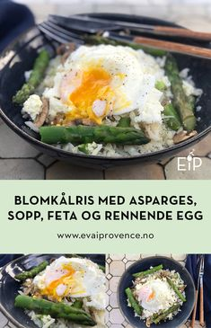 LETT BLOMKÅLRIS MED ASPARGES, SOPP, FETA OG RENNENDE EGG (VEGETAR) Bon Appetit, Eggs, Ethnic Recipes, Food, Essen, Egg, Meals, Yemek, Egg As Food