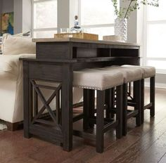 Heatherbrook Console Table Set w/ Barstools Liberty Furniture in Bistro and Bar Table Sets. The Heather Brooke Collection by Liberty Furniture has unique two tone charcoal and ash finish works well with a variety of upholstery fabrics. Bar Table Sets, Patio Bar Set, Bar Tables, Muebles Living, Counter Height Table, Tall Table, Liberty Furniture, Pub Set, Under The Table