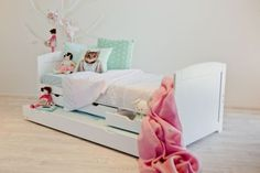 OXFORD-WHITE-Single-Trundle-Guest-Bed-with-Drawers-Perfect-Childrens-Bed-NEW