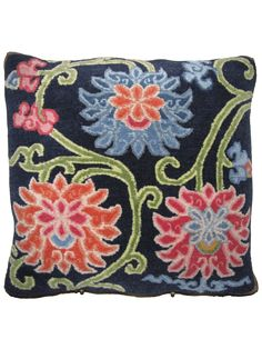 Pema Lotus navy blue   Unique rug pillow used for meditation or decoration. Designed in SoHo, Handwoven in the Himalayas #handmade   Tibetan #pillow   @RaloTibetanRugs