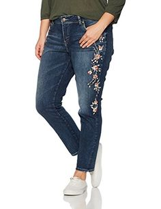 47aea00de4eb Silver Jeans CO Womens Plus Size Elyse Relaxed Fit Mid Rise Skinny Jeans  Vintage Indigo Embroidery
