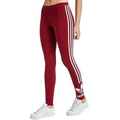 adidas Originals 3 Stripe Trefoil Leggings ($36) ❤ liked on Polyvore featuring pants, leggings, striped jersey, red jersey and adidas originals