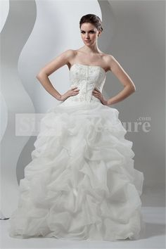 Princess Soft Sweetheart Floor-length Satin/Organza Wedding Dresses With Beading Embroideries