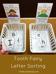 Tooth Fairy Letter Sorting -  children sort upper and lowercase letters.