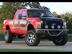 nice Red Ford truck F-150