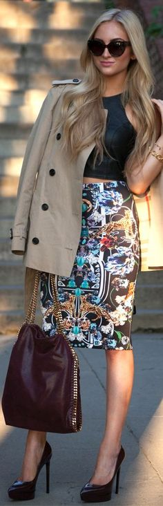 #Printed #Pencil #Skirt by fashion, style, outfit, women, clothing, handbag, sunglasses, jacket, brown, aztec, top,  heels, summer