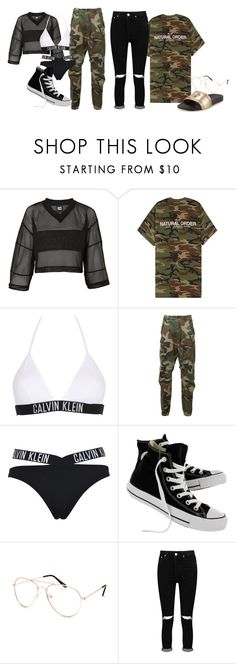 """""""Jones Joël - Camo Clothing"""" by poopiemckaka ❤ liked on Polyvore featuring Topshop, Alyx, Calvin Klein, R13, Converse, Blue Crown, Boohoo and Versace"""