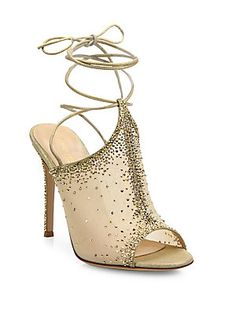 Gianvito Rossi Etoile Mesh & Crystal Mule Sandals