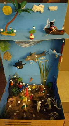 Completed Grade 7 Ocean Ecosystem diorama project close up School Projects, Projects For Kids, Art Projects, Crafts For Kids, Kreative Jobs, Ecosystems Projects, Ecosystem Activities, Ocean Diorama, Ocean Habitat