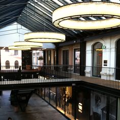 Really cool chandeliers at an indoor shopping space in Copenhagen Denmark