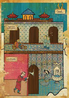 Murat Palta ilustrações posters de filmes estilo otomano turco