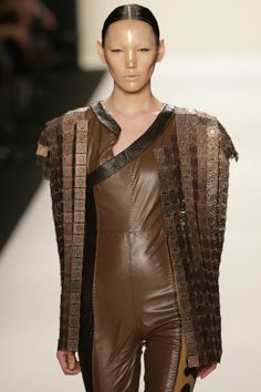katya Zol highres - New York Fashion Week Fall-Winter 2014 - Katya Zol - Gallery - Modelixir Universe Leather Pieces, Fall Winter 2014, Rocks, Designers, Universe, Sari, Leather Jacket, Couture, Detail